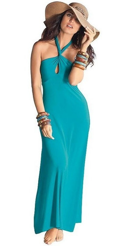 vestido longo azul turquesa