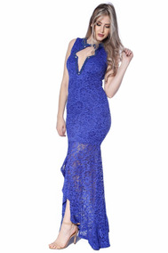 434106d2a Vestido Longo Azul Zigma Bordado Ideal Para Festas Casamento