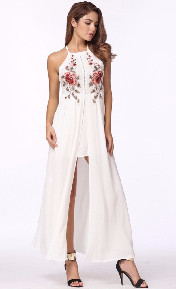 ac7be7717 Vestido Longo Bordado C/fenda - R$ 79,90 em Mercado Livre