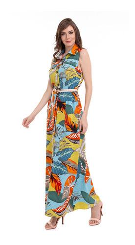 vestido longo botões com cordão kinara