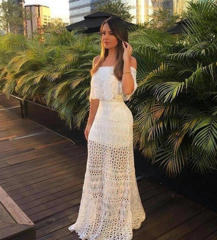 55456f50d vestido longo branco tricô ciganinha festa blogueira croche. Carregando  zoom.