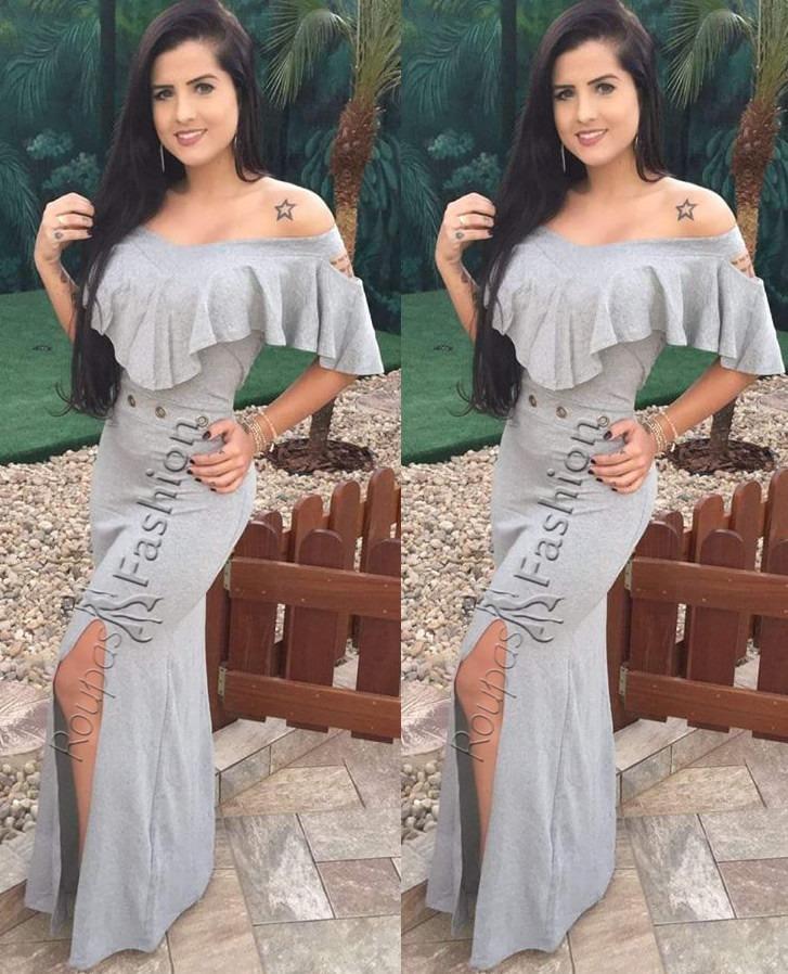 3636e0fc2c vestido longo casuais c  fenda e babado ilhós roupa feminina. Carregando  zoom.