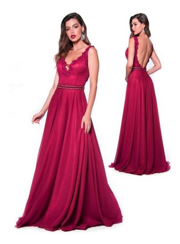 vestido longo cavado pano chik godê com guipir aplicado pink
