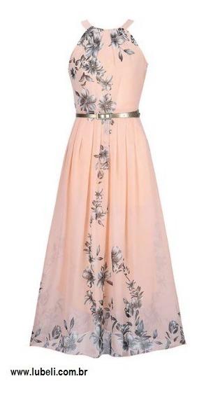 Vestido Longo Chiffon Festacasual Estampa Floral