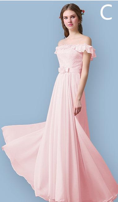 Vestido Longo Chiffon Tule Renda Madrinha Formatura Cor Rosa