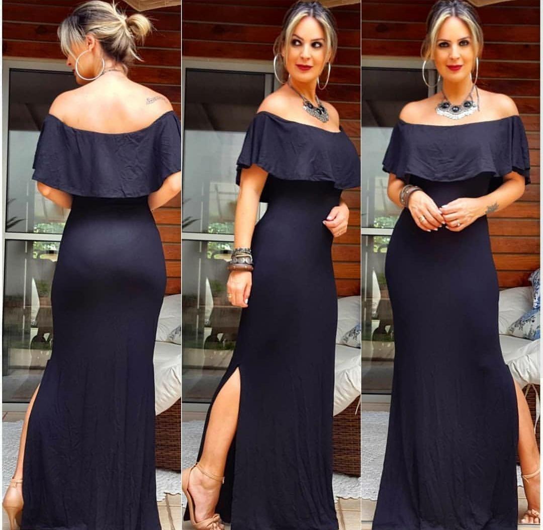 e10b512c3 vestido longo ciganinha liso preto com bojo promoção cód131. Carregando  zoom.