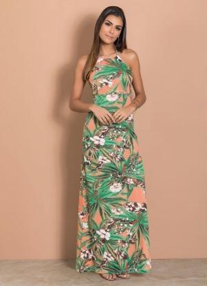 vestido longo com amarração nas costas floral  m,g,gg