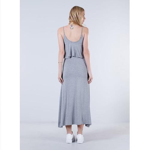 vestido longo com babado feminino lara - cinza