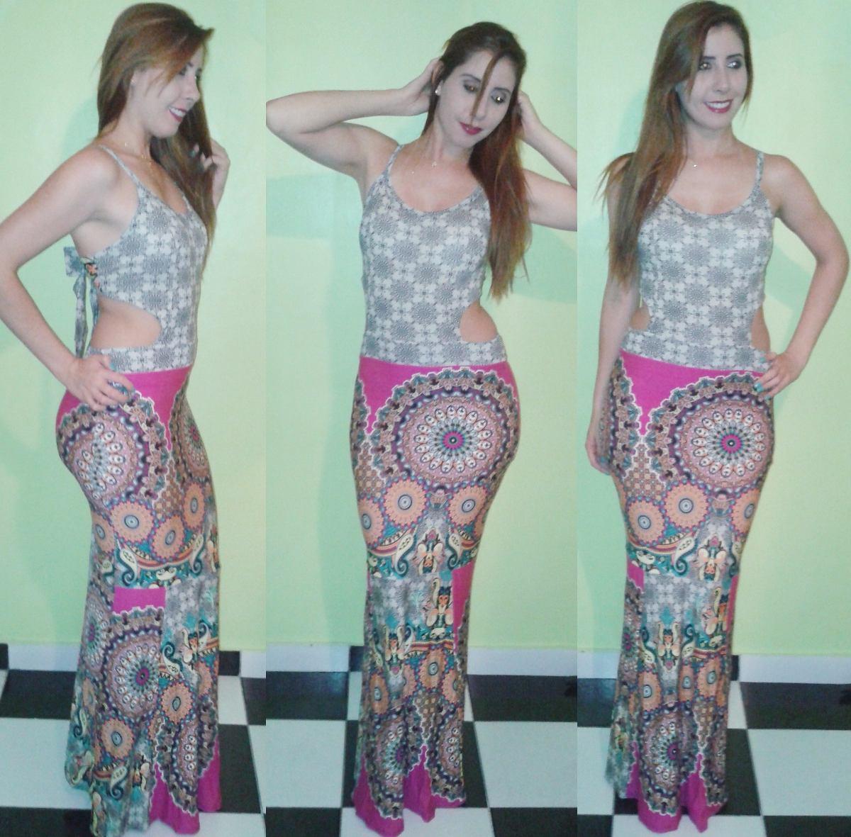 Vestido Longo Com Bojo Rabo De Sereia Levanta Bumbum Estampa