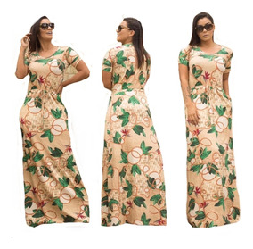 87537d338228 Vestido Longo Estampado Plus Size - Vestidos Femeninos Longo com o ...