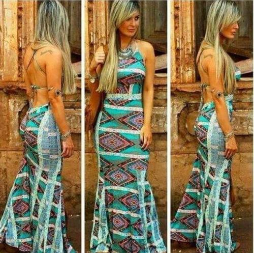 vestido longo com corte sereia + bojo