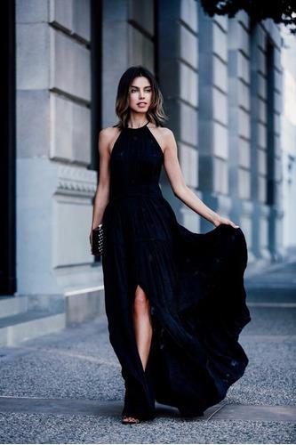 vestido longo com fenda festa coleção nova