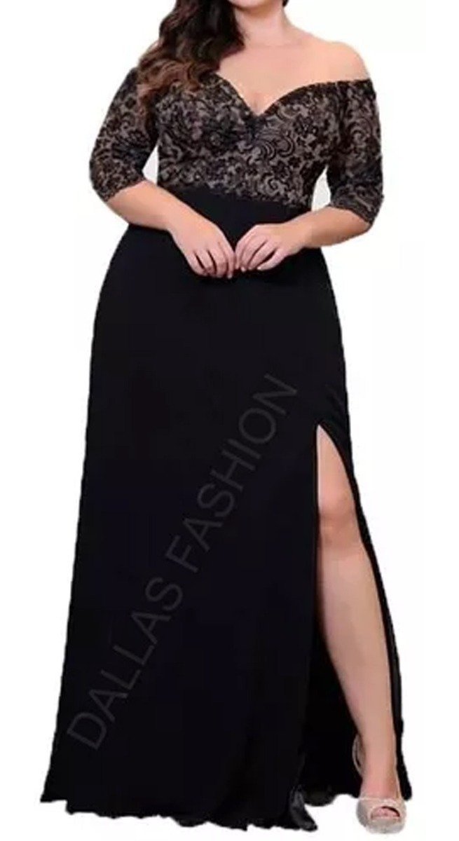 dfaab7ca8 Vestido Longo Com Fenda, Festa, Plus Size - R$ 198,90 em Mercado Livre