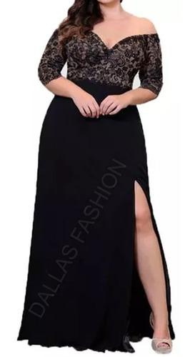 vestido longo com fenda, festa, plus size