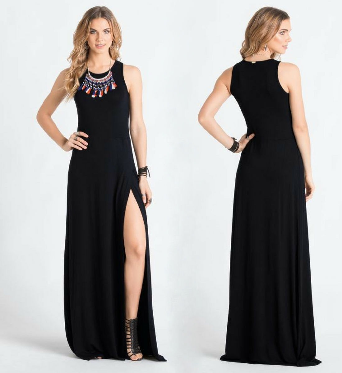 Vestido Longo Com Fenda Festa Preto Tubinho Casual Elegante