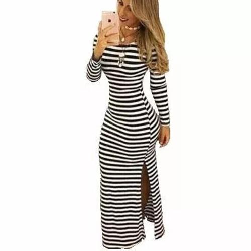 vestido longo com fenda lateral moda blogueira listrado