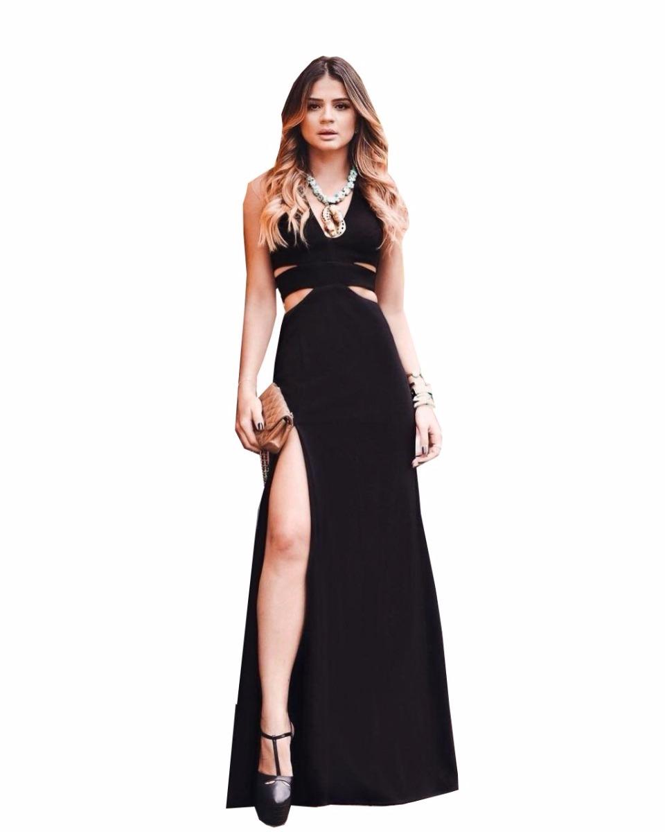 1b82121f0 vestido longo com vazados e fenda festa menor preço. Carregando zoom.