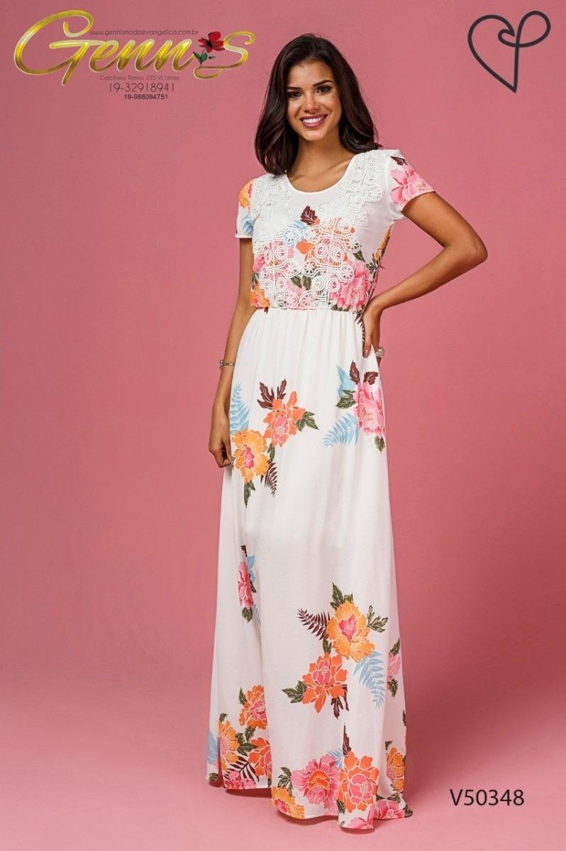 ed5bd515b Vestido Longo Crepe Floral 50348 Jany Pim - R$ 379,90 em Mercado Livre