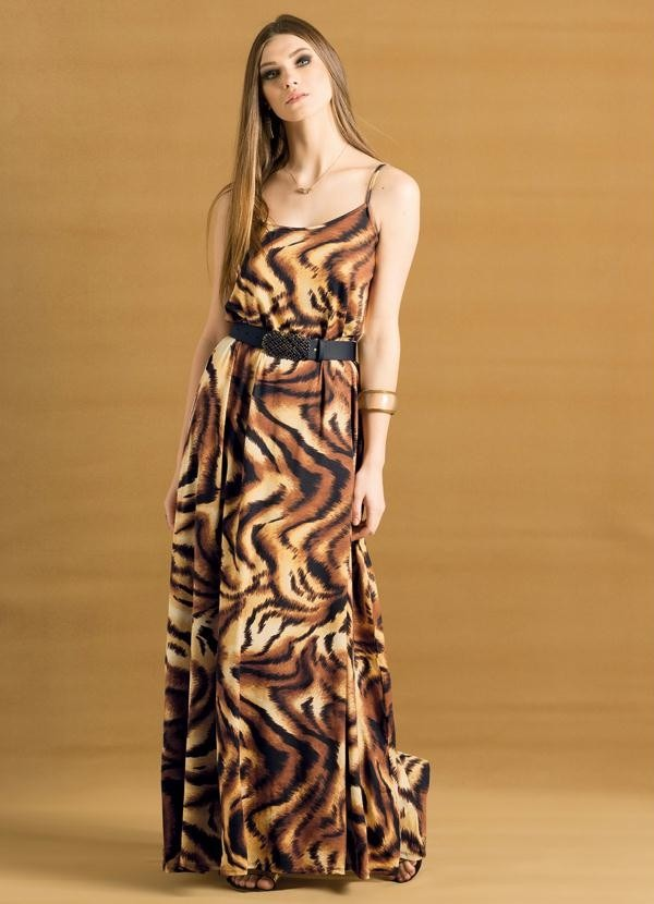 5e43270c82 vestido longo de alça animal print - estampa de tigre. Carregando zoom.