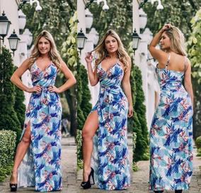 c90d454862 Vestido Longo Aberto Na Perna Listrado - Vestidos Casuais Longos Femininas  no Mercado Livre Brasil