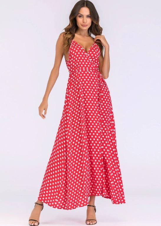 463a5cfe7 Vestido Longo De Bolinha Com Cinto Lo9088 Style Me - R  119