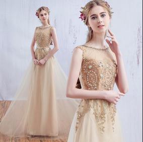 bfcaa7276 Vestido Longo De Festa Bordado Dourado Com Cinto 1028