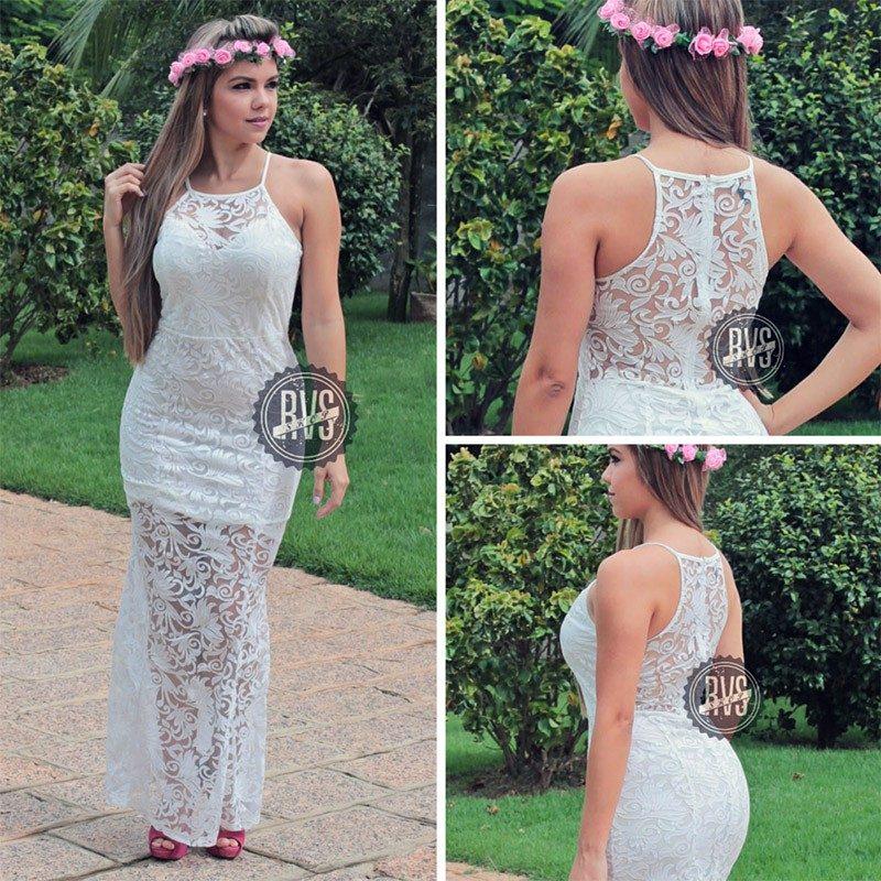 Vestidos longos de renda para festa de casamento
