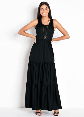 vestido longo de festa estampado moda evangélica sem manga