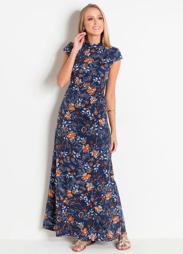 vestido longo de festa moda evangélica florido feminino