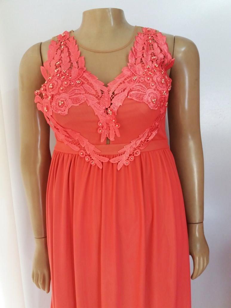 5b992599f vestido longo de festa plus size bordado coral - perfeito!! Carregando zoom.