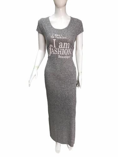 vestido longo de malha viscolycra manga curta estampad busto