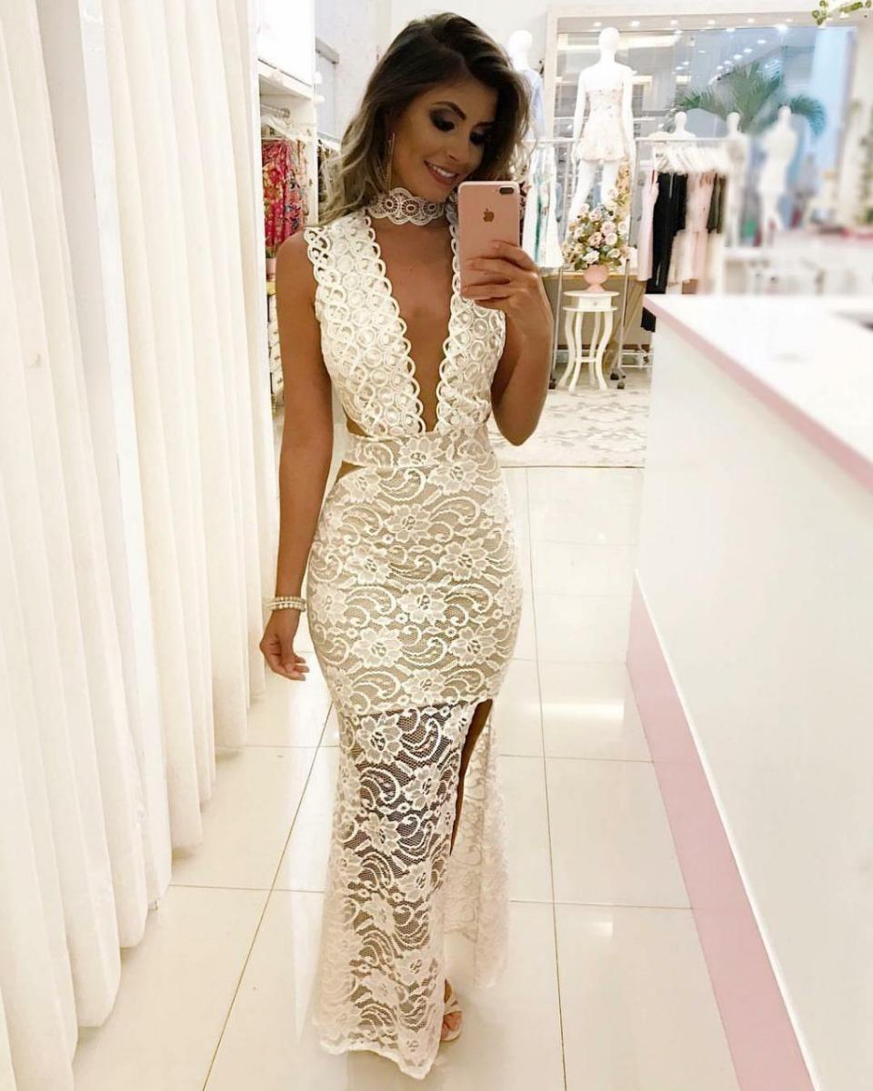 8510f00c6 Vestido Longo De Renda Branco Com Bojo Formatura - R$ 159,90 em ...