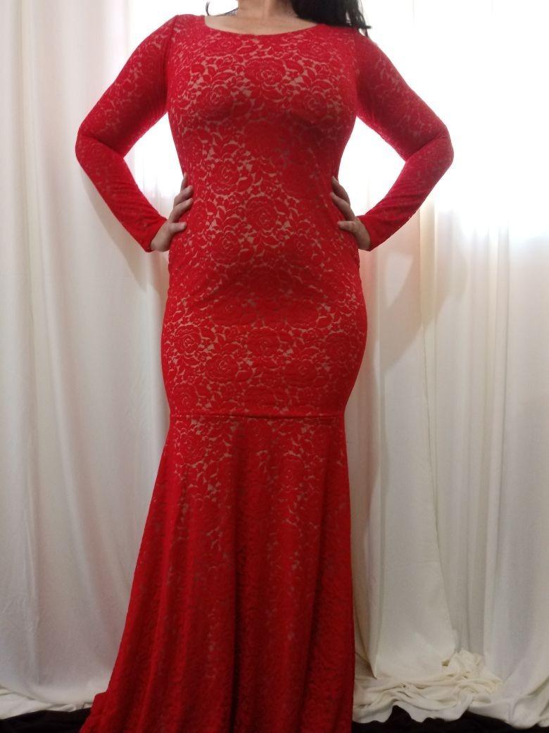 c5b82bd462b14d Vestido Longo De Renda Festa Vermelho Plus Size