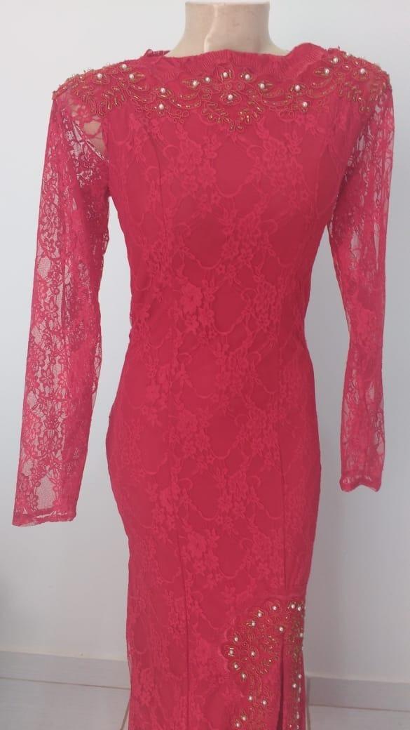 259fe895d Vestido Longo De Renda Vermelha Manga Longa A103 - R$ 120,00 em ...