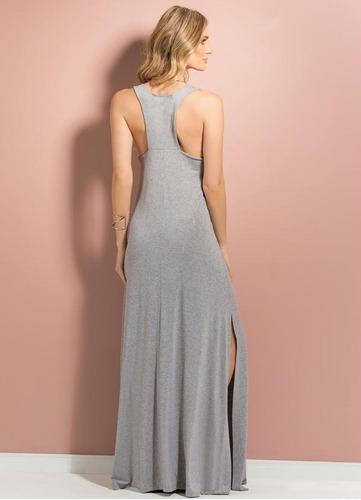 vestido longo de viscolycra costa nadador com fenda lateral