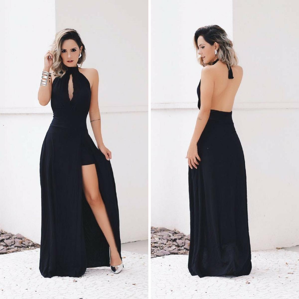 Vestido preto longo barato