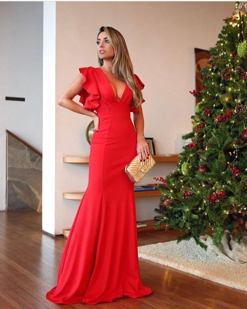 414063cf7c63 Vestido Longo Decote Babado Festa Madrinha Casamento Luxo - R$ 120 ...