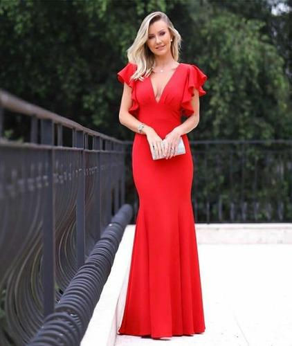vestido longo decote babado festa madrinha casamento luxo