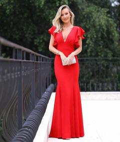 33362a3935 Vestido Feminino Longo Festa Luxo Casamento Decote Fenda - Calçados ...