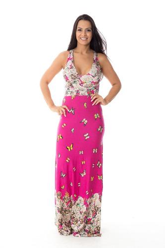 vestido longo decote cruzado nas costas estampa borboletas!