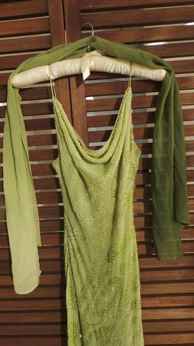 vestido longo degradê verde bordado