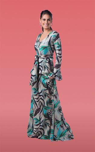 518b58f17b vestido longo dina-estampado cinza - pp. Carregando zoom.
