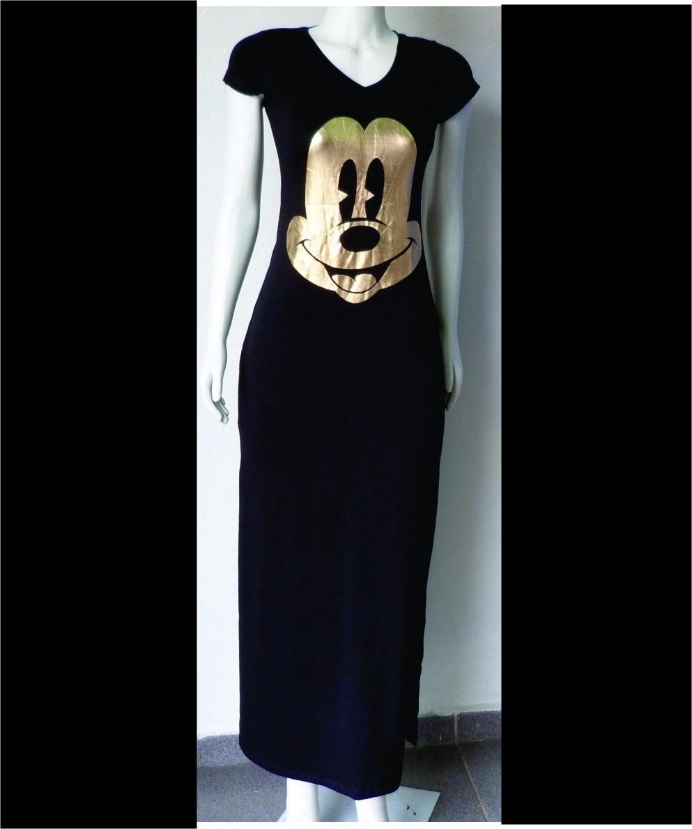 Vestido longo com estampa do mickey