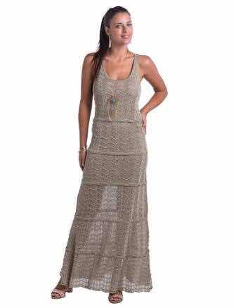425def4dc Vestido Longo Dourado De Tricot Com Lurex Márcia Mello - R$ 89,00 em ...