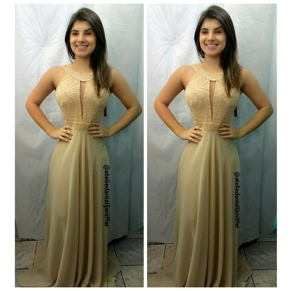 ca240e3d29 vestido longo dourado formatura com decote brilho. Carregando zoom.