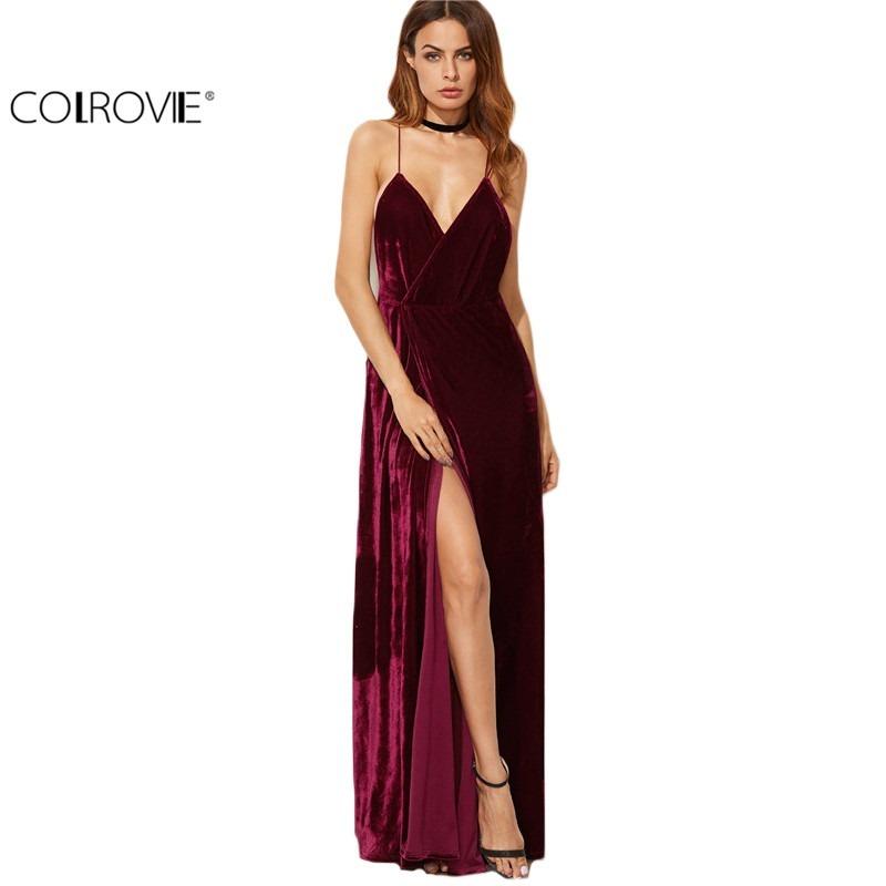 2953ec401a vestido longo elegante com fenda - frete grátis. Carregando zoom.