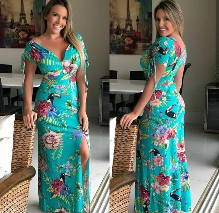 2d7196d3a Vestido Longo Elegante Lancamento Primavera Verao 2019 - R$ 199,90 ...