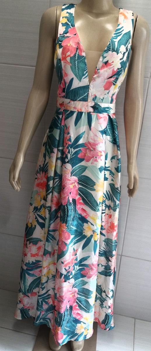 38bd91afb vestido longo em cetim estampado floral e tule lindo. Carregando zoom.