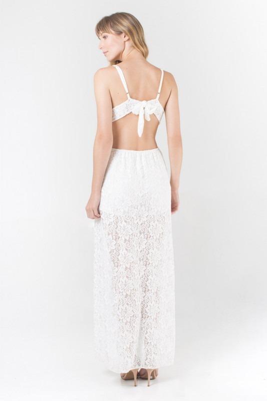 f4e9bb314e38 Vestido Longo Em Renda Fenda Lateral - R$ 119,99 em Mercado Livre