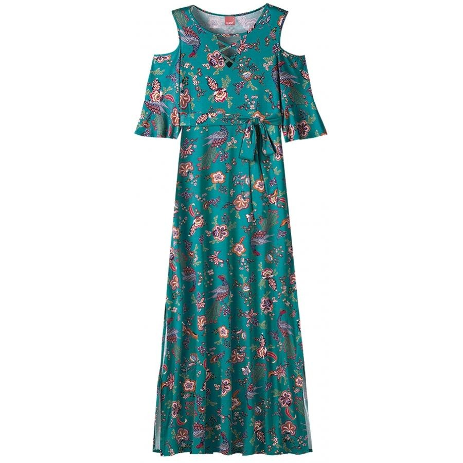 ea951959b vestido longo em viscose stretch verde floral wee! plus size. Carregando  zoom.